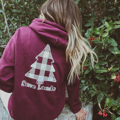 White Plaid Tree Hoodie (Back Print) 18500 Lands Maroon S
