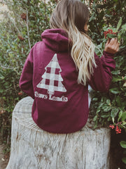 Maroon White Plaid Tree Hoodie (Back Print) 18500 Lands