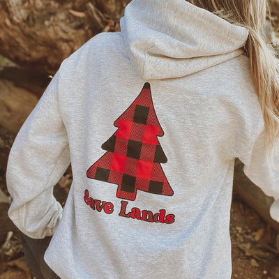 Ash Red Plaid Tree Hoodie (Back Print) 18500 Lands