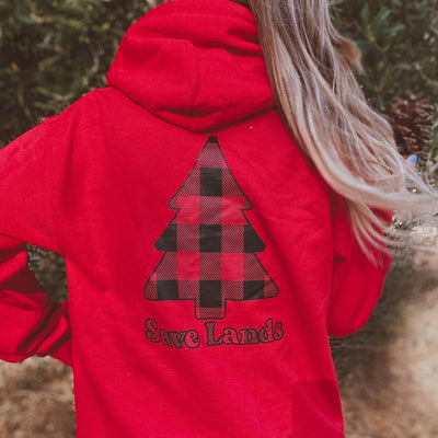 Red Red Plaid Tree Hoodie (Back Print) 18500 Lands