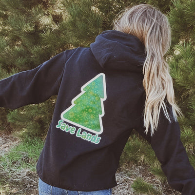 Black Green Tree Hoodie (Back Print) 18500 Lands Black S