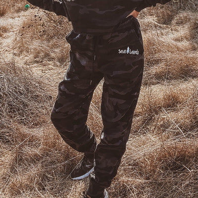 Black Camo Fleece Joggers IND20PNT - BLACK CAMO Lands S