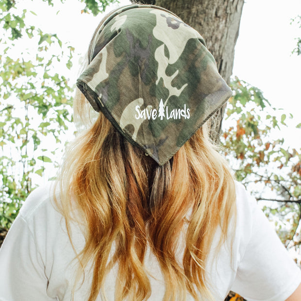 Simple White Logo Green Camo Bandana 94195 - GREEN CAMO Lands