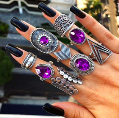 Purple Cystals Stacking Ring Set Jewelry Lands