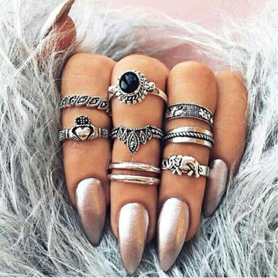 Royal Elephant Stacking Ring Set Jewelry Lands