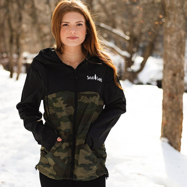 Black & Camo Save Lands Wind Breaker EXP54LWZ Lands