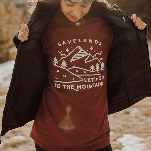 Let's Go to the Mountains Long Sleeve 2400 Lands S Maroon