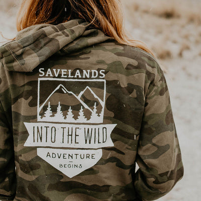 Into The Wild Back Print Hoodie Hoodie Lands Camo S