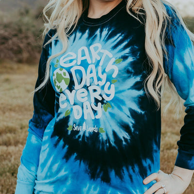 Earth Day Every Day Tie Dye Long Sleeve Tie Dye Lands S