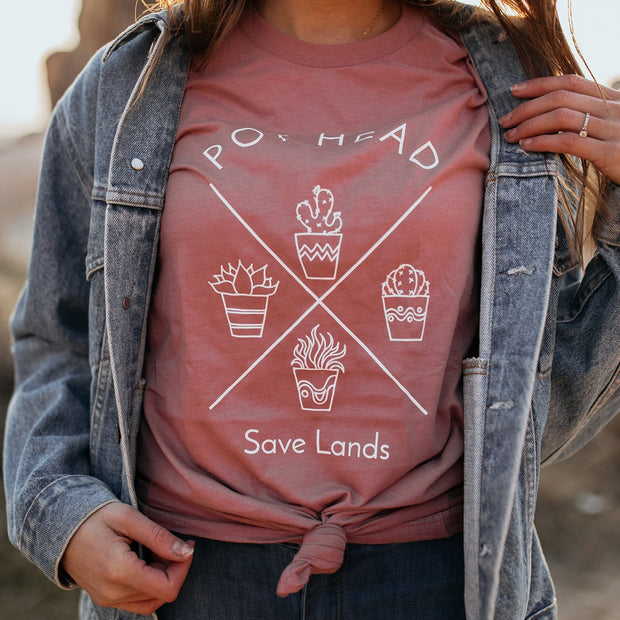 Pot Head Tee T-Shirt Lands Mauve L