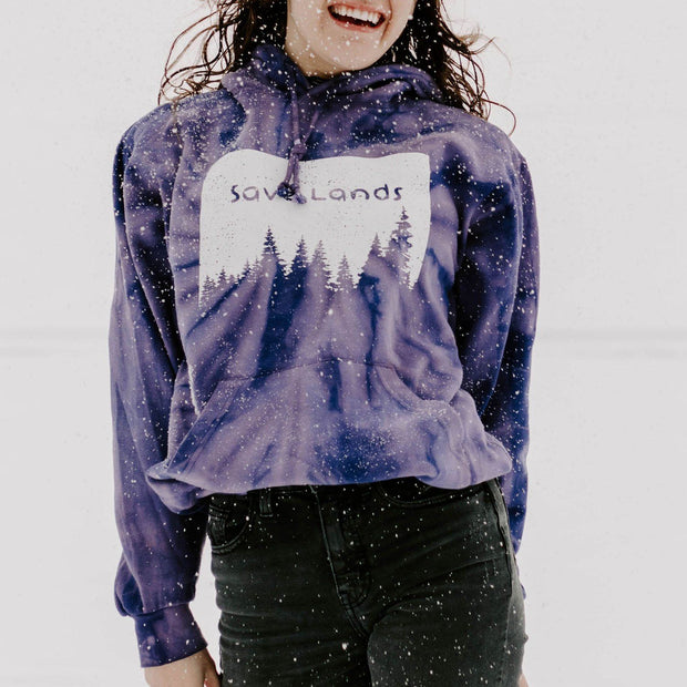 Save Lands Silhouette Hoodie Hoodie Lands Purple Tie Dye S