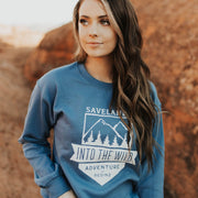 Into The Wild Crewneck Sweatshirt Sweatshirt Lands Indigo Blue L