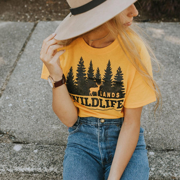 Wildlife Black and Gold Tee T-Shirt Printify