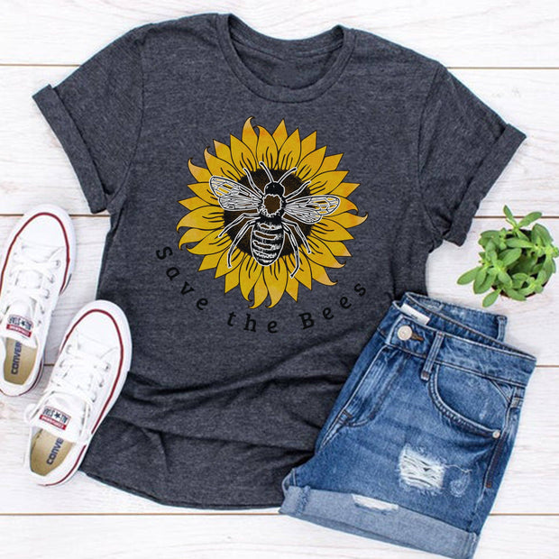 Save The Bees Sunflower Tee T-Shirt Printify