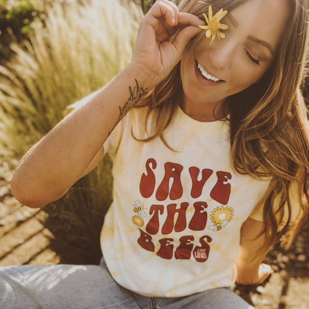 Save The Bees Retro Dandelion Tie Dye Tee Tie Dye Lands