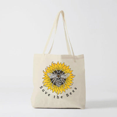 Save The Bees Sunflower Tote Bag Q600 Lands