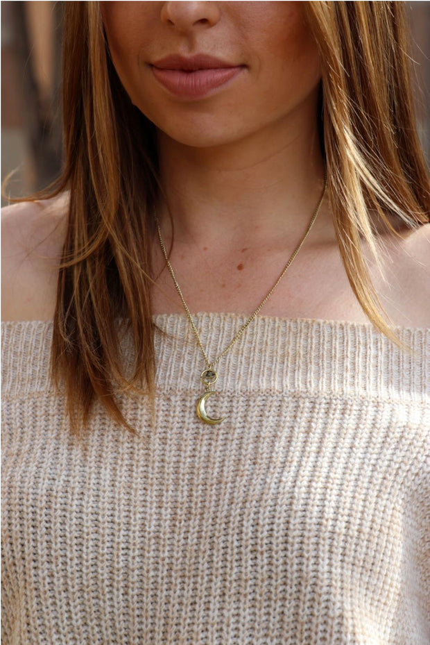 Gold Evil Eye And The Moon Necklace Jewelry Lands