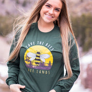 Vintage Save The Bees Long Sleeve 2400 Lands Forest Green L