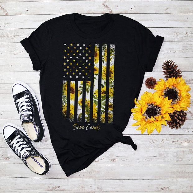 Sunflower Flag Front Print Tee 5000 Lands Black S