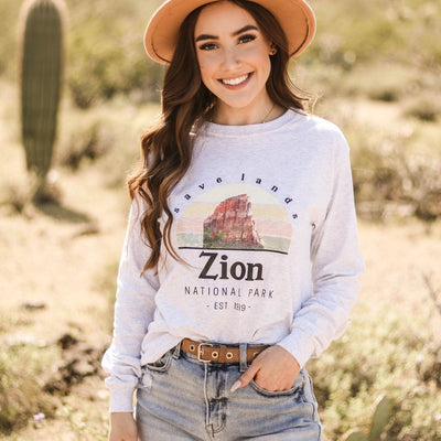Zion National Park Long Sleeve 2400 Lands Ash L