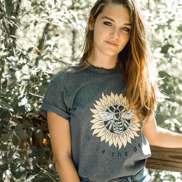 Save The Bees Sunflower Tee T-Shirt Printify Dark Heather S