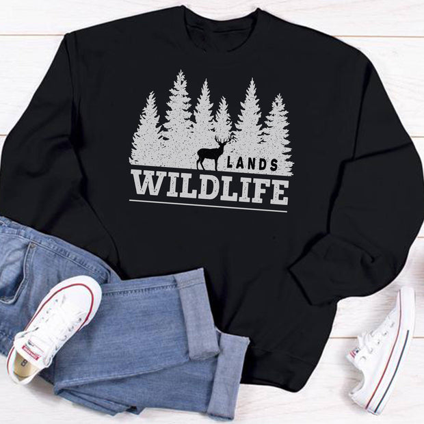Wildlife Crewneck Sweatshirt Printify Black L