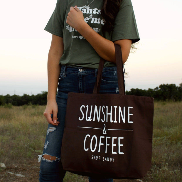 Sunshine & Coffee Tote Bag Q600 Lands Brown