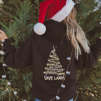 Gold Christmas Tree Hoodie (Back Print) 18500 Lands Black S