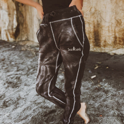 Simple White Logo Black Tie Dye Joggers 8999 - BLACK SPIDER Lands
