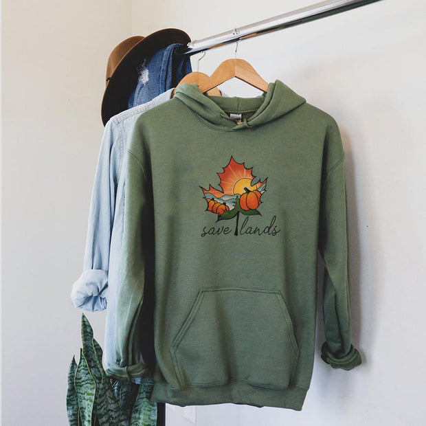 Autumn Leaves Save Lands Hoodie 18500 Lands Military Green S