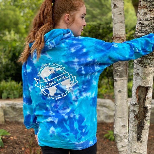 Better World Multi Blue Tie Dye Hoodie (Back Print) 8777 - MULTI BLUE Lands S