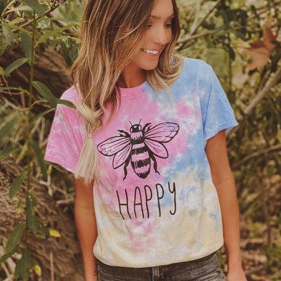 Bee Happy Sherbert Tie Dye Tee 1000 SHERBERT Lands S