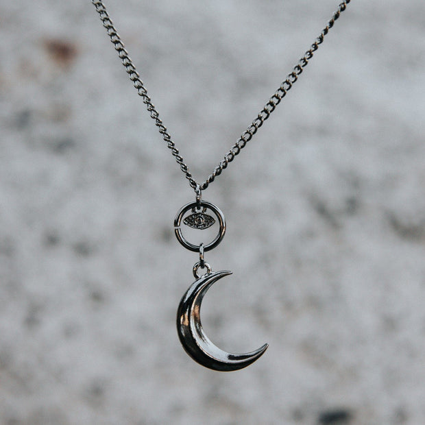 Deep Silver Evil Eye And The Moon Necklace Jewelry Lands