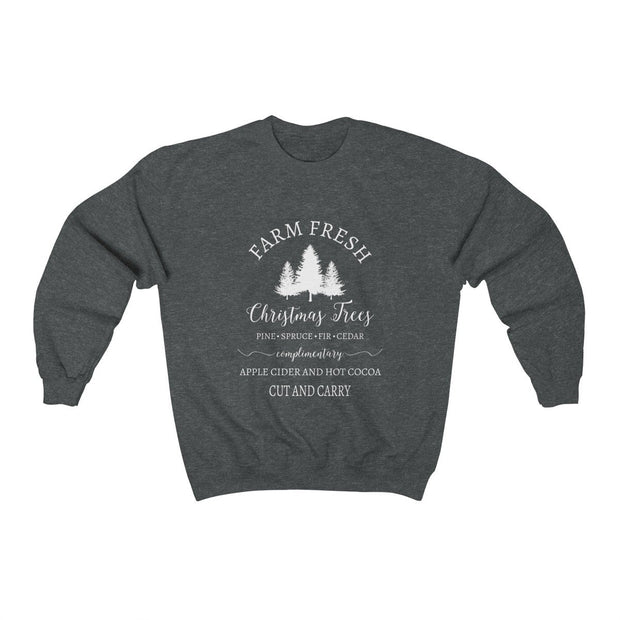 Christmas Tree Crewneck Sweatshirt Sweatshirt Printify Dark Heather S