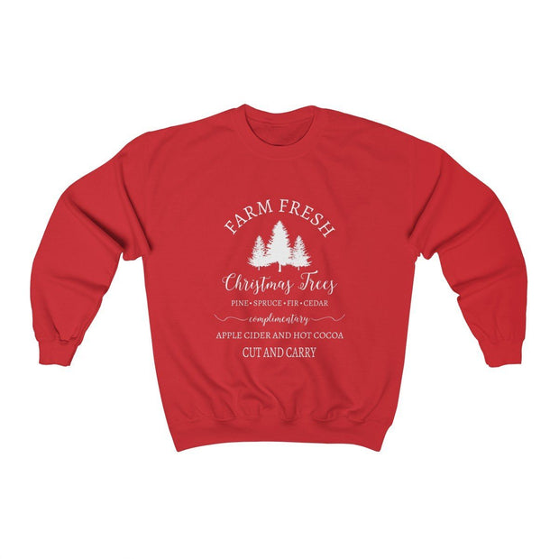 Christmas Tree Crewneck Sweatshirt Sweatshirt Printify Red S