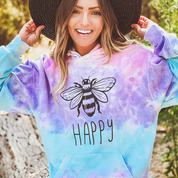 Bee Happy Cotton Candy Tie Dye Hoodie 8777 - COTTON CANDY Lands S