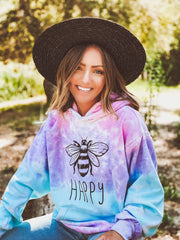 Bee Happy Cotton Candy Tie Dye Hoodie 8777 - COTTON CANDY Lands