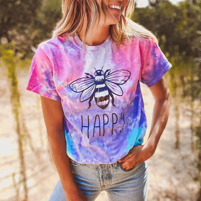 Bee Happy Cotton Candy Tie Dye Tee 1000 - COTTON CANDY Lands S