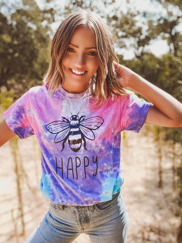Bee Happy Cotton Candy Tie Dye Tee 1000 - COTTON CANDY Lands