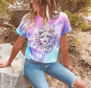 Black Print Sun & Moon Cotton Candy Tie Dye Tee 1000 - COTTON CANDY Lands S
