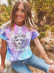 Black Print Sun & Moon Cotton Candy Tie Dye Tee 1000 - COTTON CANDY Lands