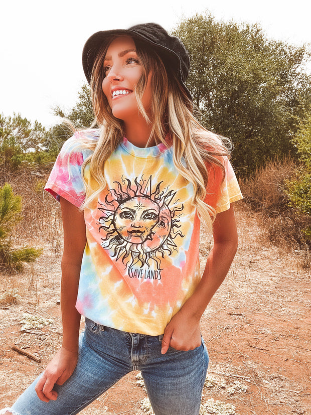 Black Print Sun & Moon Eternity Tie Dye Tee 1000 ETERNITY Lands