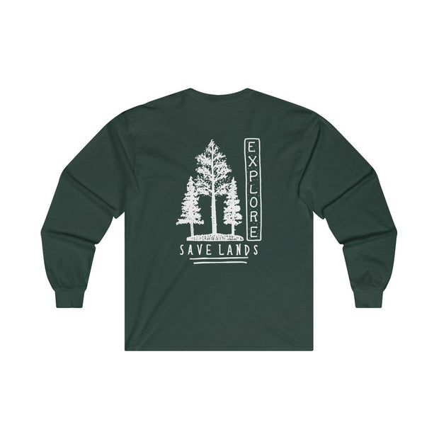 Triple Tree Explore Back Print Long Sleeve Long-sleeve Printify Forest Green S