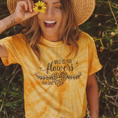 Wild as the Flowers Gold Tie Dye Tee 1000 SPIDER GOLD Lands S