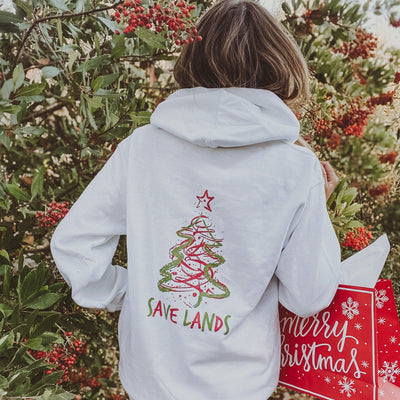 Red & Green Christmas Tree Hoodie (Back Print) 18500 Lands White S