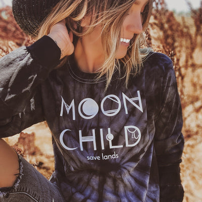 Moon Child Black Tie Dye Long Sleeve 2000 - SPIDER BLACK Lands S