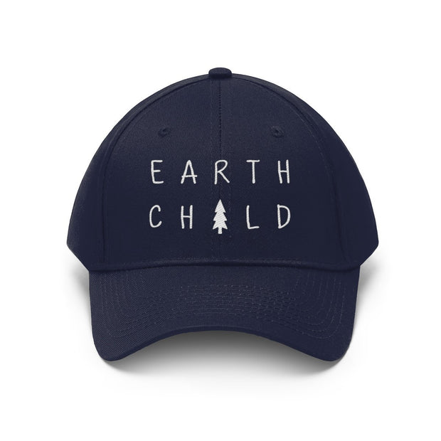 Earth Child Hat (White Text) Hats Printify True Navy One size