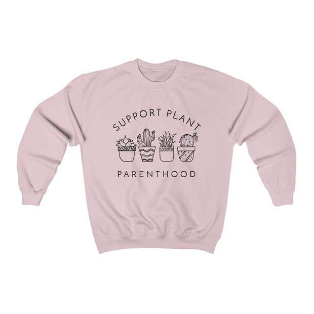 Support Plant Parenthood Crewneck Sweatshirt Sweatshirt Printify Light Pink S