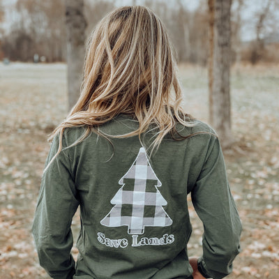 Military Green White Plaid Tree Long Sleeve (Back Print) 2400 Lands