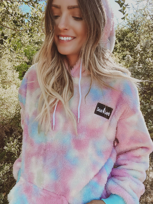 PREORDER Pastel Tie Dye Save Lands Hooded Sherpa Sherpa Lands